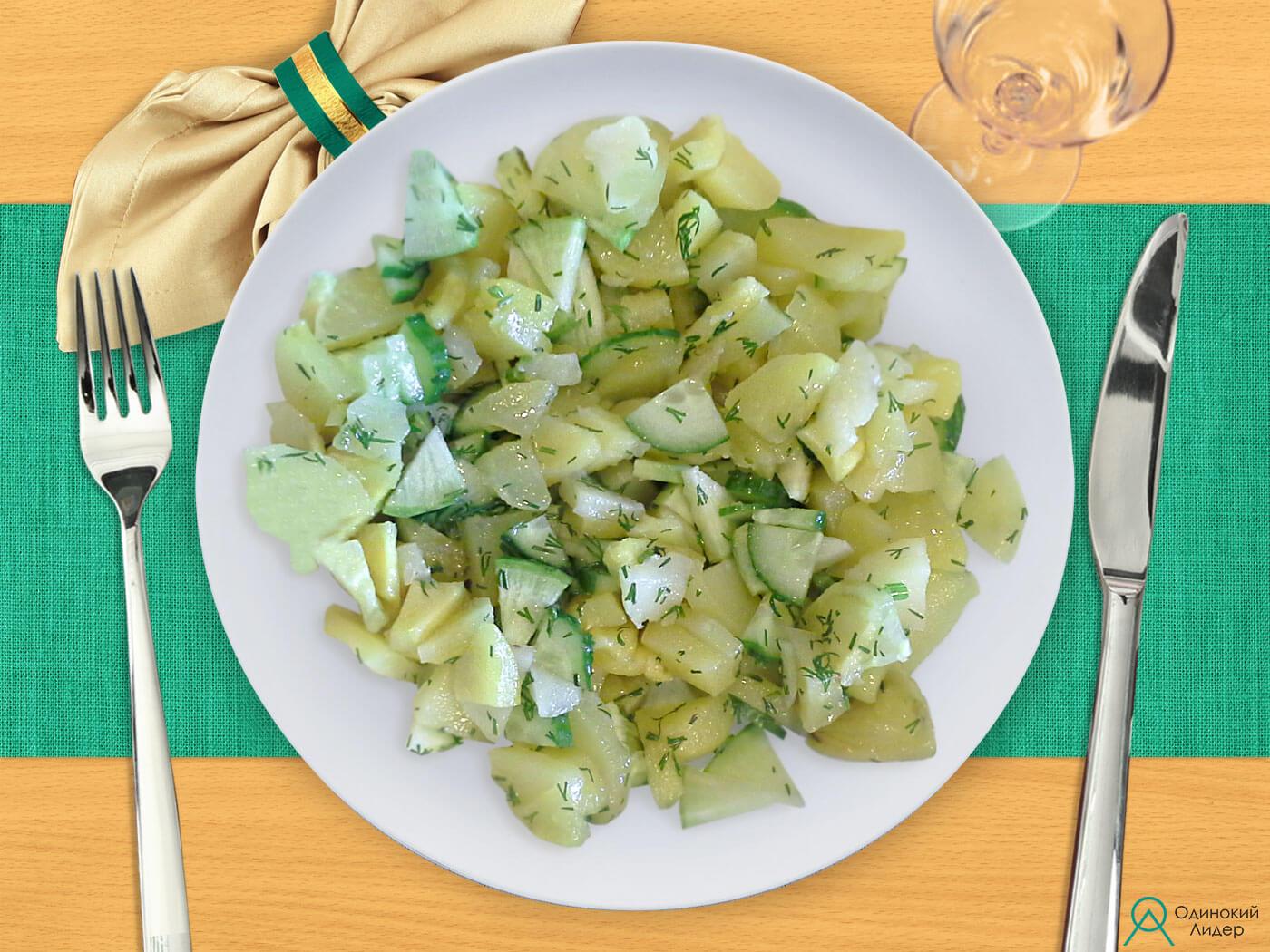 Картофель с сырыми овощами