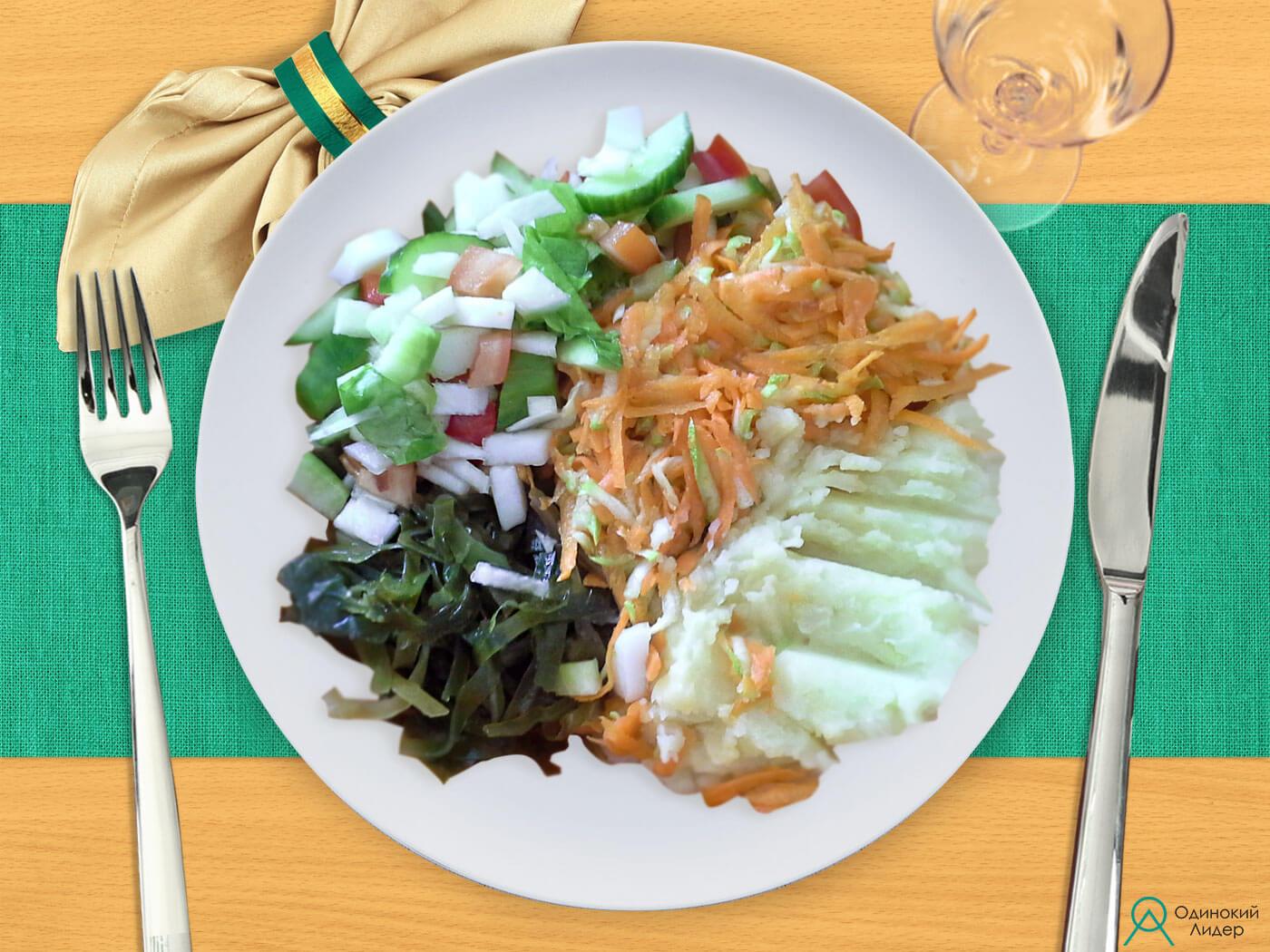 Картофельное пюре и 3 салата